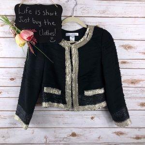 Oscar de la Renta black gold metallic silk blazer